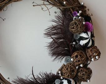 Black White and Fuschia Boutique Wreath 18 inch Grapevine
