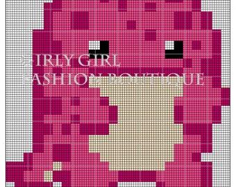 Pattern Pink Quaggan Cross stitch Gw2 inspired