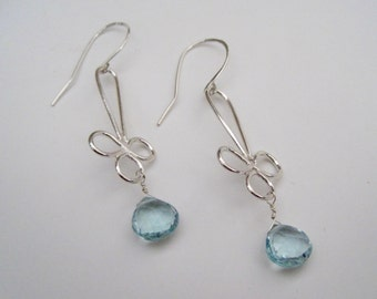 Aquamarine earrings, dangling earrings, earrings, aquamarine jewelry, March birthstone earrings, modern earrings, artisan earrings