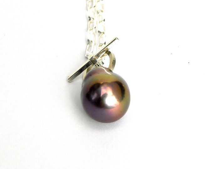 """Teutana II"" Baroque Pearl Toggle Necklace"
