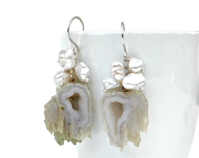"""""""Elsa"""" Geode and Pearl Earrings"""
