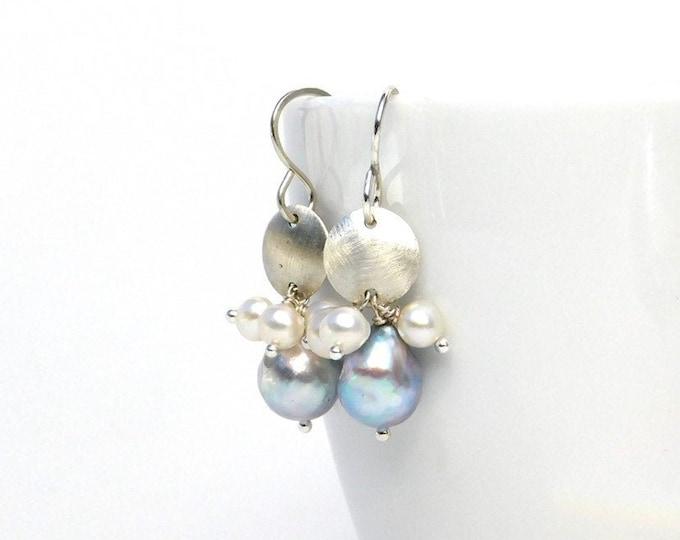 """Ada"" Gray Pearl Dangle Earrings"