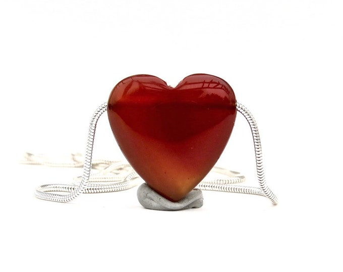 """Love"" Red Agate Slide Necklace"