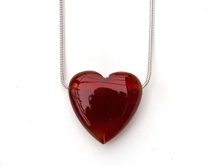 """""""Love"""" Red Agate Slide Necklace"""