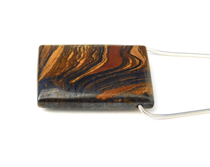 """Spill"" Tiger Iron Slide Necklace in Sterling"