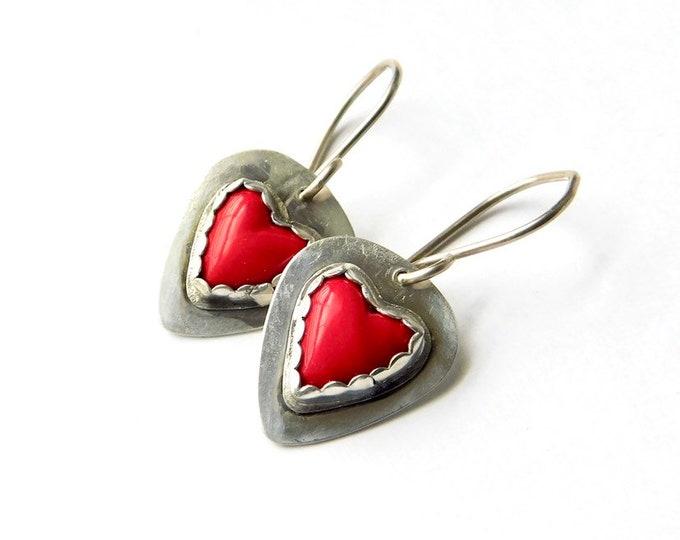 """""""Piccolo Hearts"""" Rosarita/Gold Slag Earrings"""