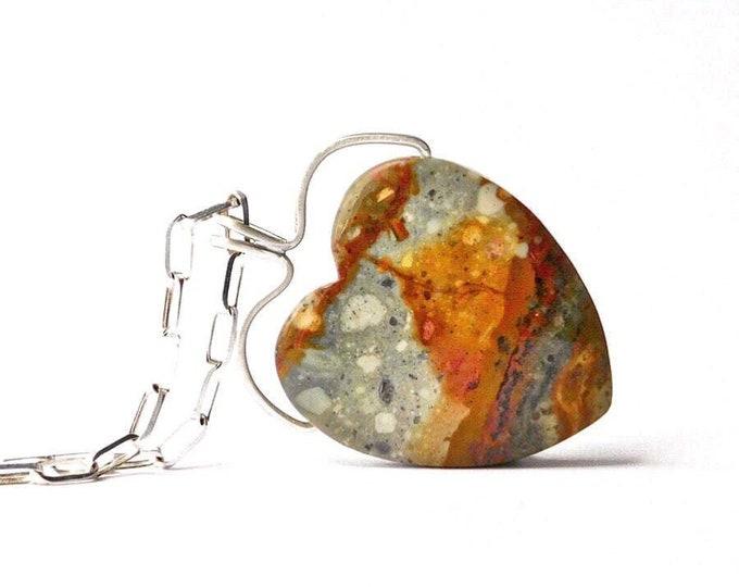 """Variegated Heart"" Jasper Necklace"
