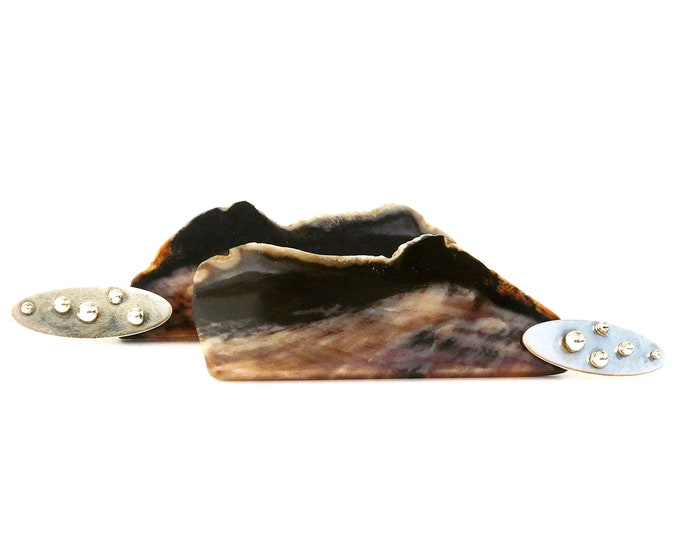"""Elowen"" Petrified Wood Earrings"