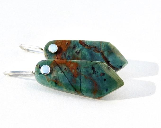 """""""Hyperia"""" Green Opal Earrings in Sterling Silver"""