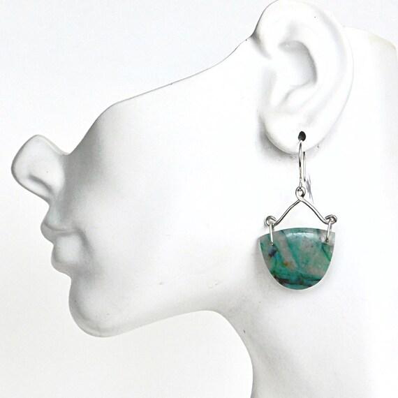 """Melo"" Chrysocolla Quartz Earrings"