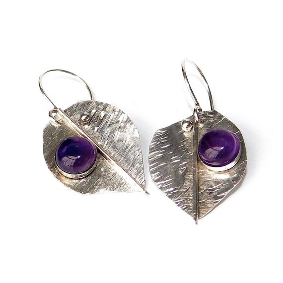 """Thalia"" Amethyst Leaf Earrings"