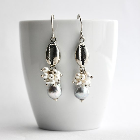"""""""Ala"""" Gray Pearl Cowrie Accent Earrings"""