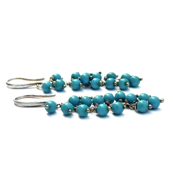 "Sleeping Beauty Turquoise Earrings in Sterling, ""Nalini"" Turquoise Earrings"