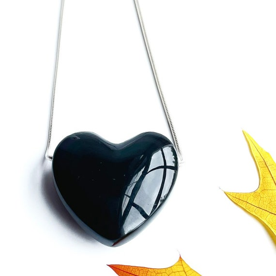 """""""Lea"""" Rainbow Obsidian Heart Necklace"""