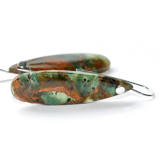 """Simple Green Opal Earrings in Sterling Silver, Green Opal Teardrop Earrings, """"Hyperia II"""" Green Opal Earrings"""