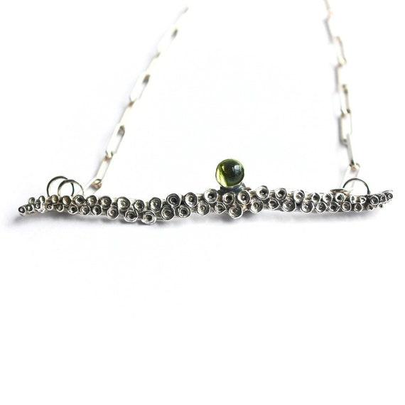 """Camryn"" Peridot Tentacle Bar Necklace"