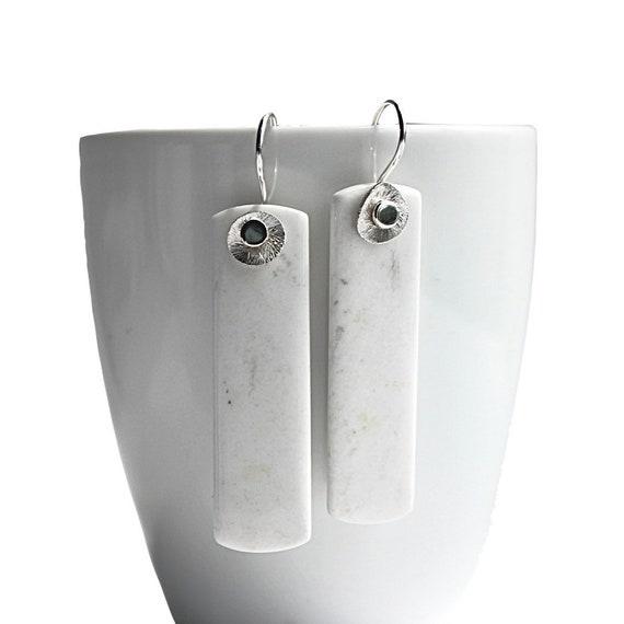 """""""Ariarne"""" White Jasper Tablet Earrings"""