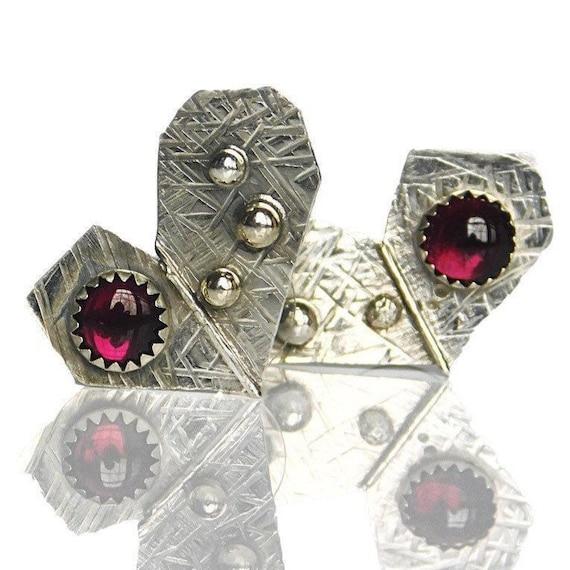 """Suma"" Garnet Heart Earrings"
