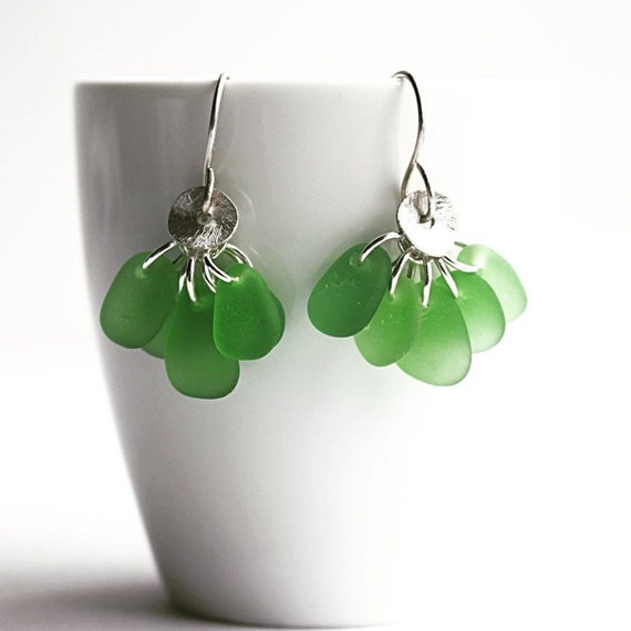 """Linnea I"" Beach Glass Earrings"