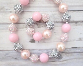 Girls Bubblegum Bead Necklace Girl Bead Necklace BDay Girl Bracelet Little Girl Chunky Necklace,Toddler Jewelry Charlotte Girl Necklace