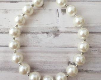 Baby Girl Necklace, Girls Bubblegum Chunky Necklace, Pearl Baby necklace,Girls Bubble Gum Bead Necklace,Children Necklace