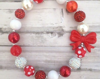 Baby Necklace red, Baby Chunky Necklace, Necklace for Girls, Red Bead Necklace, Toddler Necklace