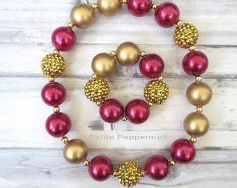Burgundy Gold Baby Chunky Necklace, Baby Necklace, Girl Chunky Necklace, Toddler Necklace, Girl Jewelry, Girl Bracelet