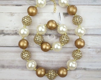 Gold Baby Chunky Necklace, Necklace for Girls, Baby Girl Necklace, Girl Chunky Necklace, Girl Jewelry, Bubblegum Necklace