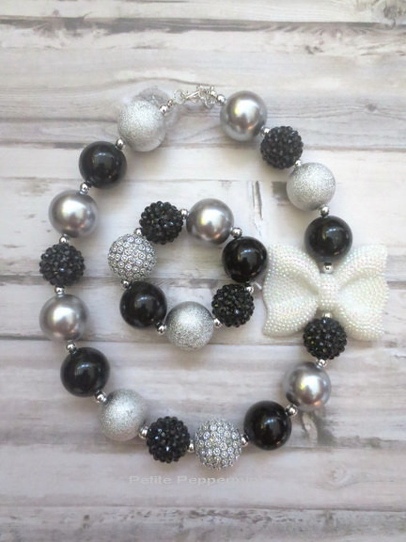 Toddler Jewelry Black Silver Baby Bead Necklace Toddler Bead Necklace Baby Girl Necklace Girl Jewelry Girl Necklace