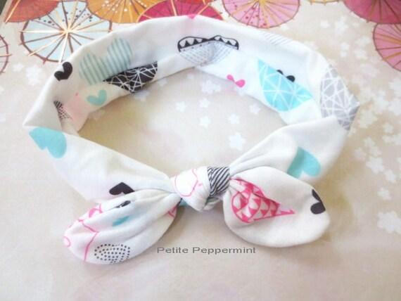 White Baby Headband Baby Knot Headband Top Knot Baby Head Etsy