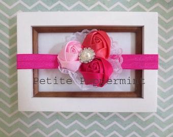 Baby headband, newborn headband, infant headband, toddler headband - Trio Flower headband