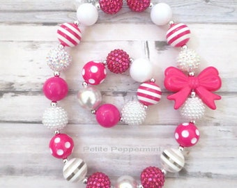 Hot Pink Baby Girl Necklace, Toddler Necklace, Toddler Bracelet, Girl Bracelet, Girl Necklace, Chunky Necklace, Baby Bead Necklace