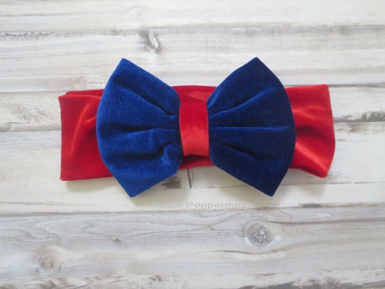 Baby Headband Bow Baby Head Wrap Red and Blue Baby Headband Toddler Bow Headband Velvet Bow Headband Baby Head Band Bow
