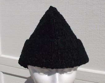 472addbeaf0 Vintage Black Curley lam Kozakken garnizoen hoed Unisex Bucket Cap Union  label gewatteerde gevoerd SZ LG. Retro Hipster Cottage chique bos winter