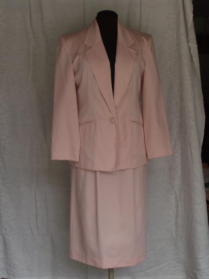 Vintage Dusty Rose Pink 2 Piece Skirt Suit by Koret Petites Sz 10 Poly Cotton Mix Office School Professional Union Label Wedding Casual