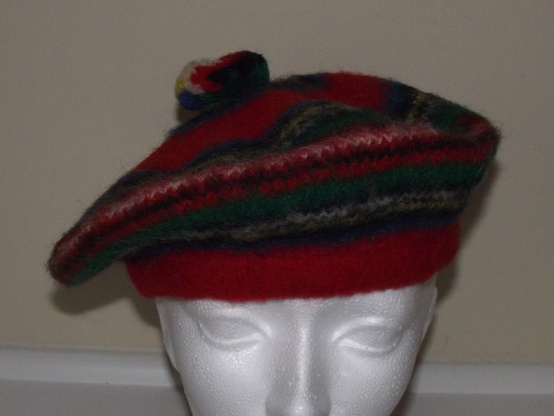 1940\u2019s Wool Knit Spiral Beret Hat Cap Rainbow Colors Celtic Tam Tassel Top Cool Woodland Retro Hipster Ethnic Bob Marley Homemade?