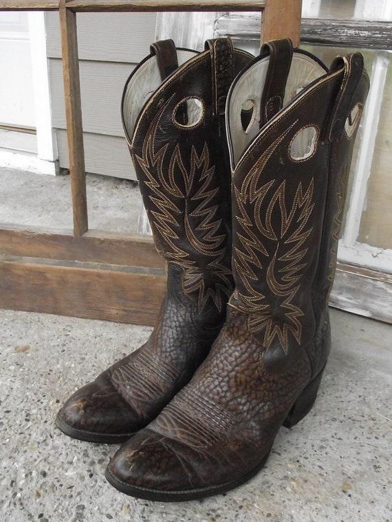 Dan Post Finger Hole Shaft Dark Brown Cowboy Boots