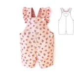 Baby romper pattern for girls, boys, toddler. Playsuit overall sewing PDF pattern. Dungaree pattern for children. Sizes: 0m-2y.