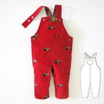 Romper pattern for baby boy and girl, toddler. Sewing PDF dungaree pattern for newborn, infant, child. Jumpsuit size: 0 months to 2 years.