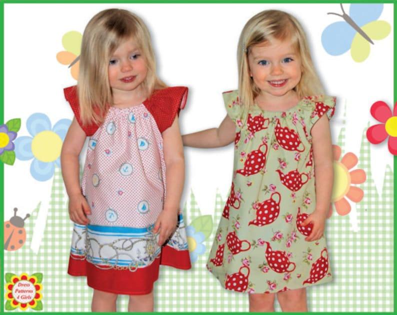 Peasant dress pattern for girls toddler. Sewing PDF dress image 0