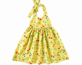 Halter dress pattern for girls, toddler. Sundress sewing PDF pattern. Free mother-daughter apron pattern is included.  Sizes 12m-12y