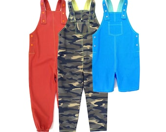 DUNGAREE PDF PATTERN, 3y-13y, for boys and girls. Overall + shortall sewing pattern. 3y-13y