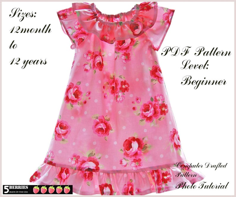 Valentina peasant dress pattern for girls, toddler  Sewing clothing PDF  patterns for children  12 months to 12 years