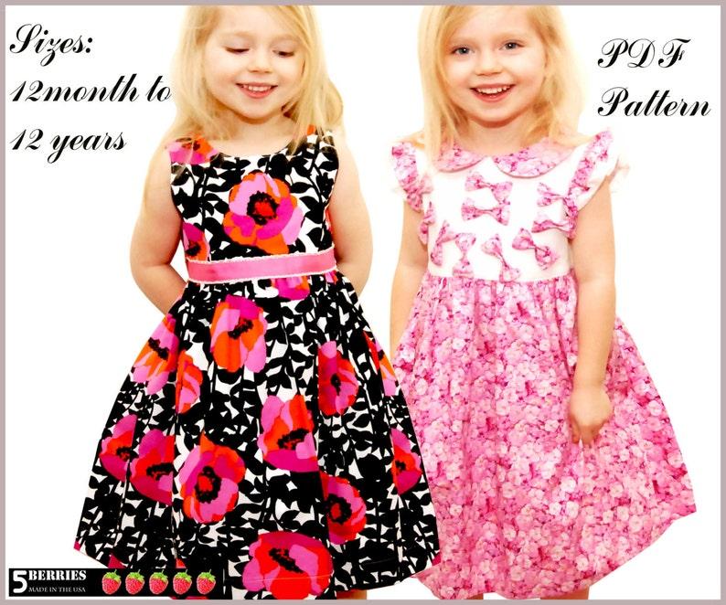 Symphony dress pattern for girls toddler. Sewing PDF pattern image 0