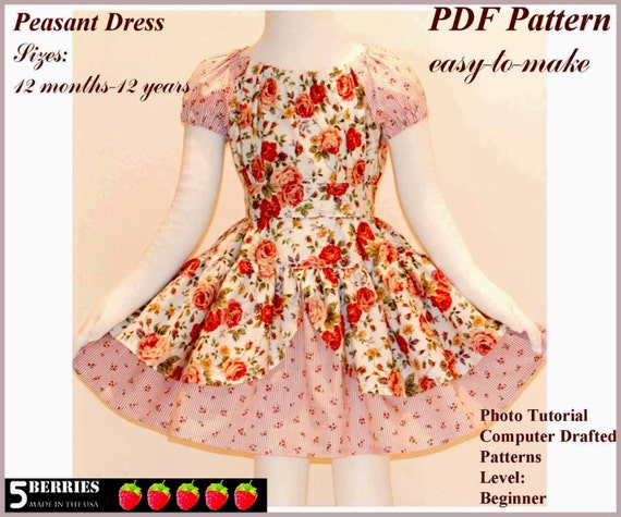 Alexandra Peasant Dress Pattern Free Mother Daughter Apron Etsy