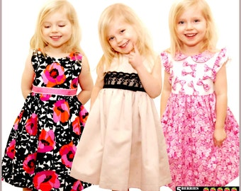 Sewing PDF dress pattern for girls, toddler.  Party, special occasion dress pattern for children. Sizes: 12 months to 12 years.