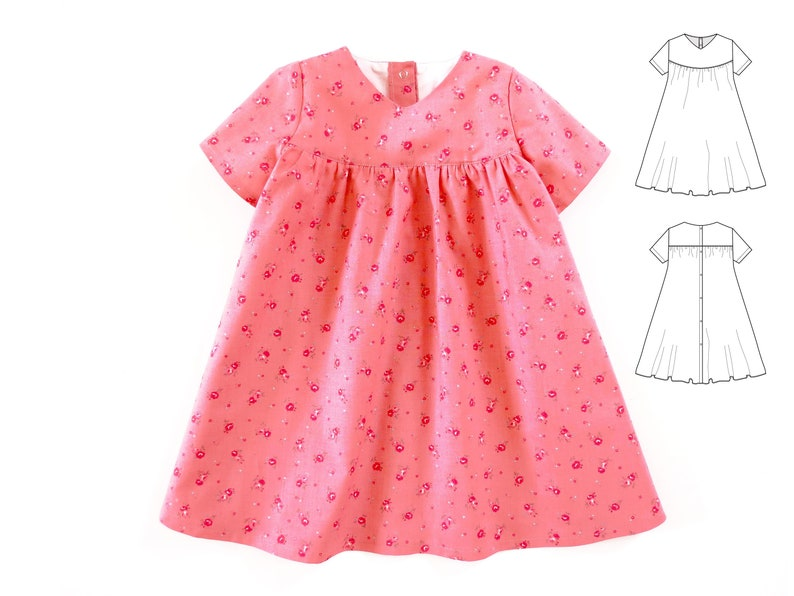 f3e3257274f02 Dress pattern for baby girls, newborn and toddler. Easy-to-make pdf sewing  pattern for children. Sizes 0 months to 6 years.