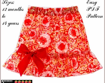 Jessica Girls TWIRL SKIRT PATTERN + Free Mother-Daughter Apron Pattern, pdf Sewing Patterns for Children, Baby, Toddler, Tutorial, 5Berries