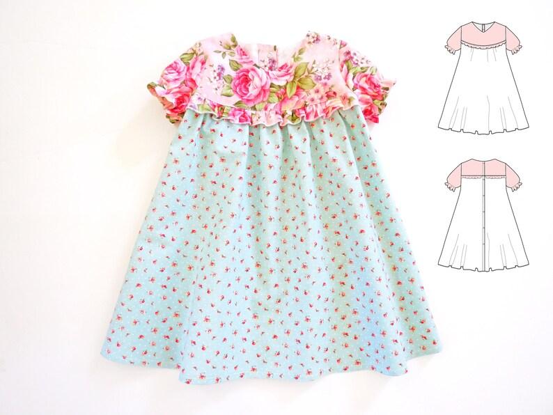 5d40e05723b48 BABY DRESS PATTERN for girls. Sewing pdf pattern for infant, newborn,  toddler, children. Ninotchka dress pattern.