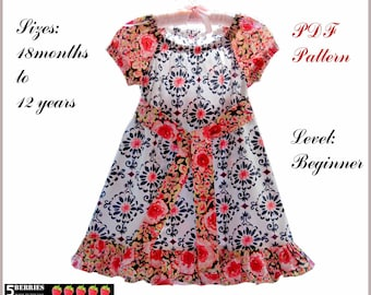 Ruffle peasant dress pattern for girls, toddler. Sewing PDF clothing pattern for children. Sizes: 12 months to 12 years.